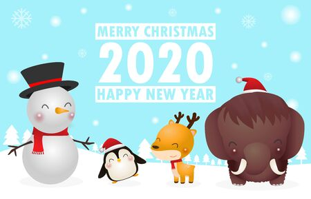 Merry Christmas and Happy New Year. Christmas Cute Animals Character. mammoth, Penguin, Reindeer, Snowman, Winter landscape. Template for advertising brochure, your text, vector Illustration