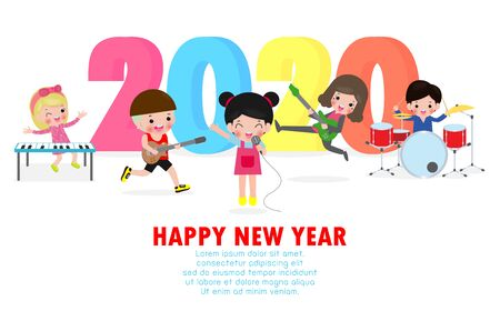 Happy new year 2020 greeting card with cute children play musical and dance.  Merry Christmas of the kids Symbol, flyers, posters, banners and calendar. Isolated vector illustration cartoon Standard-Bild - 133253624