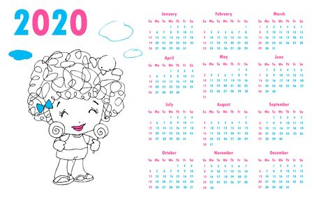 2020 calendar set. Colorful kids sketch doodle style. hand drawn frames  poster Happy new year Vector Illustration