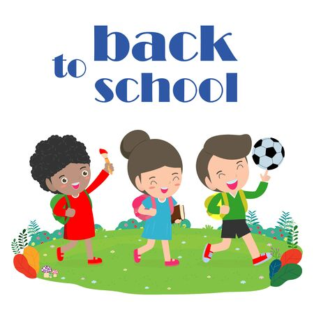 back to school, kids school, education concept, Kids go to school, Template for advertising brochure, your text, cartoon happy children, child and frame,Vector Illustration. Archivio Fotografico - 134716777