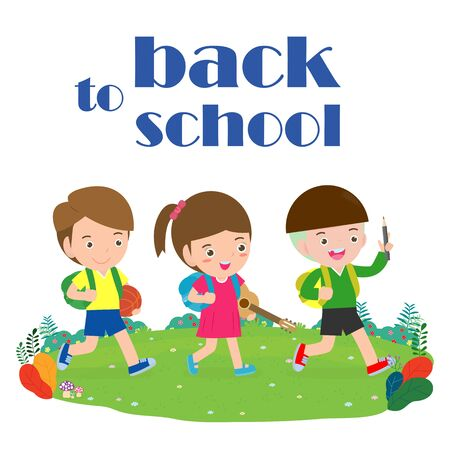 back to school, kids school, education concept, Kids go to school, Template for advertising brochure, your text, cartoon happy children, child and frame, Vector Illustration. Archivio Fotografico - 134716780