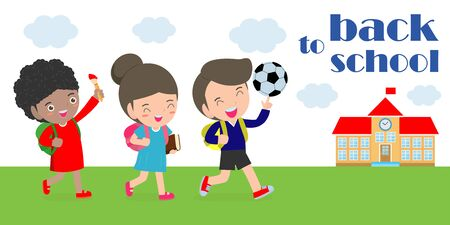 back to school, kids school, education concept, Kids go to school, Template for advertising brochure, your text, cartoon happy children, child and frame, Vector Illustration. Archivio Fotografico - 134716782