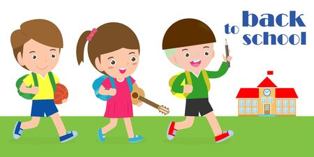 back to school, kids school, education concept, Kids go to school, Template for advertising brochure, your text, cartoon happy children, child and frame, Vector Illustration. Archivio Fotografico - 134716784