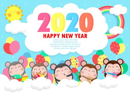 Happy new year 2020 greeting card with cute little mouse play musical and dance. Merry Christmas Symbol, flyers, posters, banners and calendar. Isolated on white background vector illustration Archivio Fotografico - 137851521