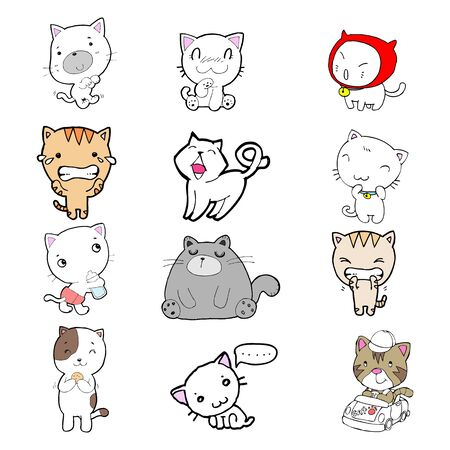 set of cartoon cute cats. doodle cats with different emotions. Cat handmade. Isolated cat for design. vector illustration