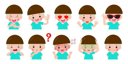set Cartoon character kids with different emotions, child expression and poses, doing different activities isolated on white background vector illustrations.