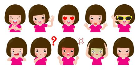 définir des enfants de personnages de dessins animés avec différentes émotions, expressions et poses d'enfants, faisant différentes activités isolées sur des illustrations vectorielles de fond blanc. Vecteurs