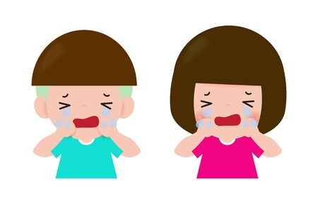 kids Children cry, Child boy and girl cartoon character Isolated on white background Vector illustration.
