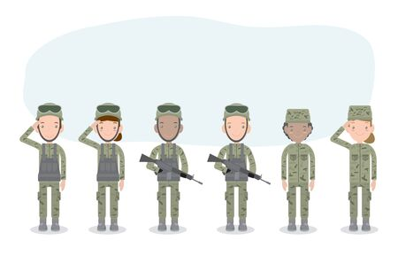 set of soldiers. men and women. flat cartoon character design isolated on white background. US Army , soldiers Isolated vector illustration. Vektoros illusztráció