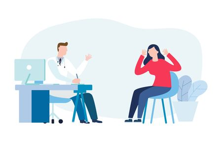 Psychotherapy counseling concept. Psychologist man and young woman patient in therapy session. Treatment of stress, addictions and mental problems. Vector illustration flat style