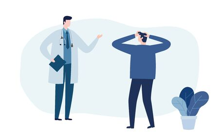 Psychotherapy counseling concept. Psychologist man and young man patient in therapy session. Treatment of stress, addictions and mental problems. Vector illustration flat style Иллюстрация