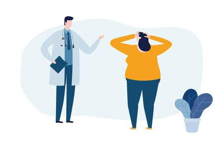 Psychotherapy counseling concept. Psychologist man and young woman patient in therapy session. Treatment of stress, addictions and mental problems. Vector illustration flat style Иллюстрация