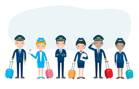 pilot and stewardess. set of officers and flight attendants Stewardesses  isolated on white background, pilot and air hostess Vector Illustration. Stock Illustratie