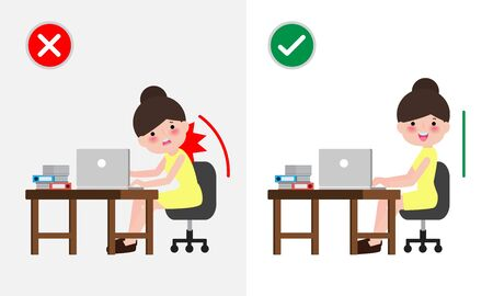Correct sitting posture And incorrect. Disease back pain. Medical healthcare concept. office syndrome, Businesswoman cartoon design vector illustration.
