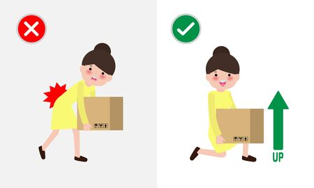 Correct lifting posture And incorrect Man lift wrong and right position. Disease back pain. Medical healthcare concept. Improper versus against proper lifting. illustration vector.