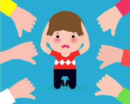 Niños deprimidos sentados en el suelo y otros niños señalando y riendo. Bullying en la escuela. niño en la vergüenza y las manos con los pulgares hacia abajo. aislado en la ilustración de vector de fondo Ilustración de vector