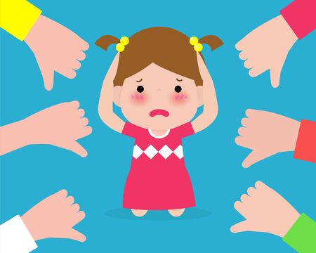 Depressed children sitting on floor and other kids pointing and laughing. Bullying at school. kid in shame and hands with thumbs down. isolated on background vector illustration