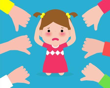 Des enfants déprimés assis par terre et d'autres enfants pointant du doigt et riant. L'intimidation à l'école. enfant dans la honte et les mains avec les pouces vers le bas. isolé sur fond illustration vectorielle