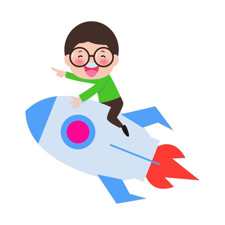 Happy Boy driving an toy space rocket in space. Vector illustration in cartoon style isolated on white background 向量圖像
