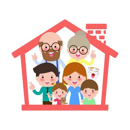 concept housing a big family. Mother father and child and grandfather a and grandmother in new house with a roof. design vector illustrations isolated on white background 向量圖像