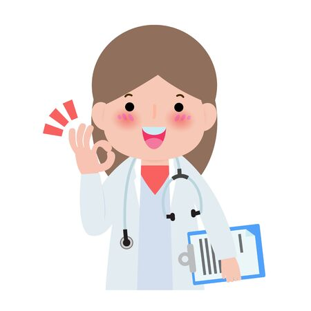 Happy doctor shows hand okay sign Isolated on white background Vector illustration