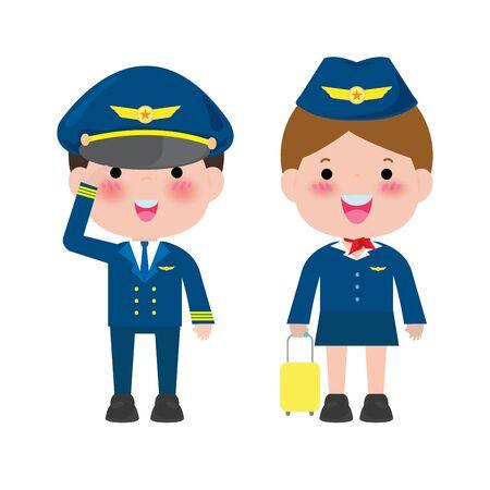 Pilotin und Stewardess. Offiziere und Flugbegleiter Stewardessen isoliert auf weißem Hintergrund, Pilot und Stewardess Vector Illustration.