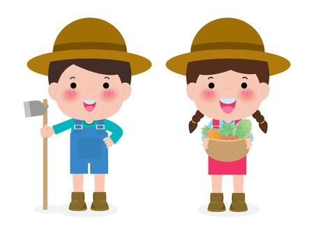 Happy farmers vector flat design isolated on white background. cute Cartoon characters of man and woman farming concept illustration.