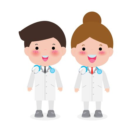 Young professional doctors. vector illustration isolated on white background