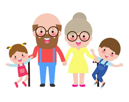 grandparents with children, grandson and granddaughter portrait, Happy grandparents with grandchildren vector illustration isolated on white background