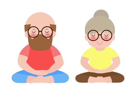 Senior Couple Relaxing in yoga pose, Elderly woman and elderly man do yoga fitness sports or exercise. Healthy lifestyle of old people vector illustration isolated on white