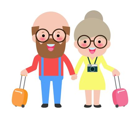 Elderly couple of tourists. Grandmother and grandfather with suitcases are traveling to travel. flat Vector illustration isolated on white background Иллюстрация