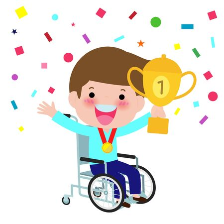 handicapped boy in a wheelchair holding winner cup and smiling. Happy champion with incapacitation win goblet. vector illustration isolated on white background Illustration