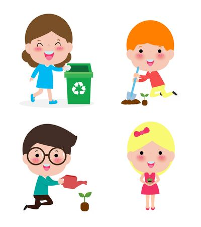 cute kids volunteer. Children collect rubbish for recycling. A child plants trees. isolated on white background Illustrator Vector