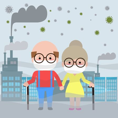 Elderly couple in masks because of fine dust PM 2.5, man and woman and child,wearing mask against smog. Fine dust, air pollution, industrial smog protection concept flat style design vector Иллюстрация