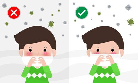 How to wear surgical mask to protect fine dust PM 2.5 and corona virus. wearing the correct and wrong dust mask vector health care concept. Medical information banner flat style design vector