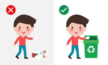 Werfen Sie keine Müllkippen auf den Boden, falsche und richtige männliche Figur, die Ihnen das richtige Verhalten zum Recyceln zeigt. Vektorillustration