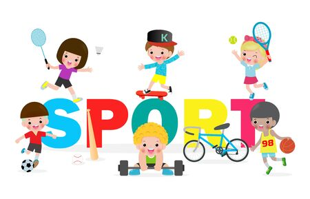Collection kids and sport, child playing various sports, Cartoon children sports isolated on white background Vector Illustration