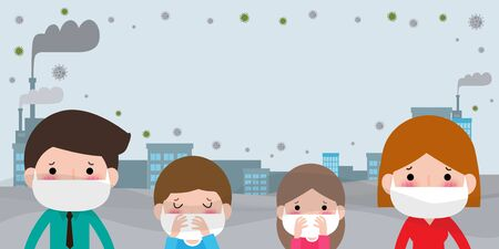 Young couple in masks because of fine dust PM 2.5, man and woman and child,wearing mask against smog. Fine dust, air pollution, industrial smog protection concept flat style design vector illustration