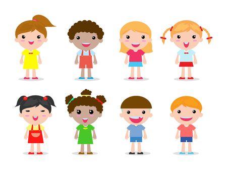 set of kids character on white background vector illustration Vettoriali