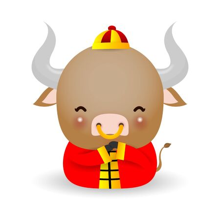 Little ox, Happy Chinese new year 2021 year of the ox zodiac, Cartoon vector illustration isolated on white background. Ilustración de vector