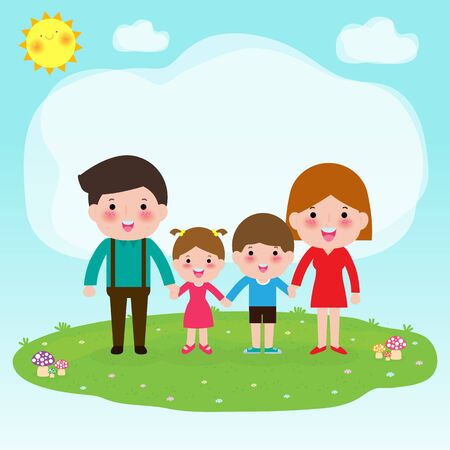 happy family holding hand together in the park. Rest at nature. Hello summer Isolated vector illustration