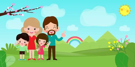 Happy family having fun. Father, mother and children are traveling to nature. Isolated vector illustration cartoon style Stock Illustratie