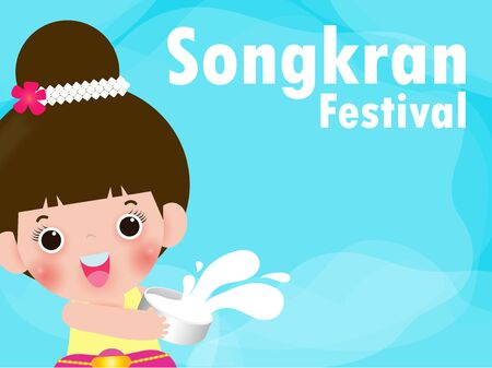 Songkran Festival, Thailand travel concept, kids enjoy splashing water in Songkran festival, Thailand Traditional New Year's Day Vector Illustration