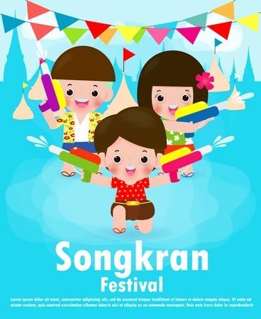 Songkran festival kids holding water gun enjoy splashing water in Songkran festival, Thailand Traditional New Year's Day Vector Illustration Thailand travel concept