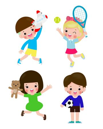set of children with toys isolated on Background vector illustration