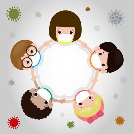 kids wearing protective Medical mask for prevent Covid-19 virus nCoV or coronavirus crisis concept. Pandemic or virus infection concept isolated vector illustration