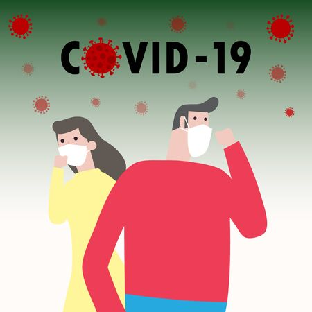 Covid-19 virus nCoV, man and woman wearing protective Medical mask for prevent coronavirus concept. Pandemic or virus infection concept isolated vector illustration