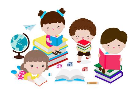 Cute kids reading book, set of children with books, Happy Children while Reading Books, education concept  Vector Illustration on white background. Ilustração
