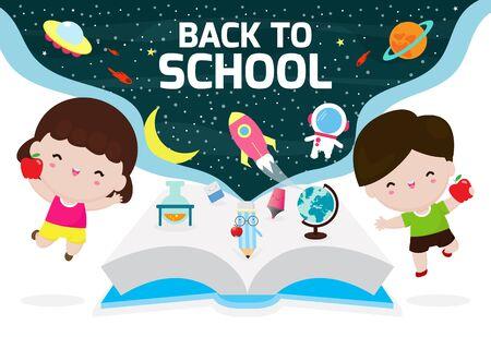 Children Back To School, Kids education concept Vector Illustration on Space background. Ilustración de vector