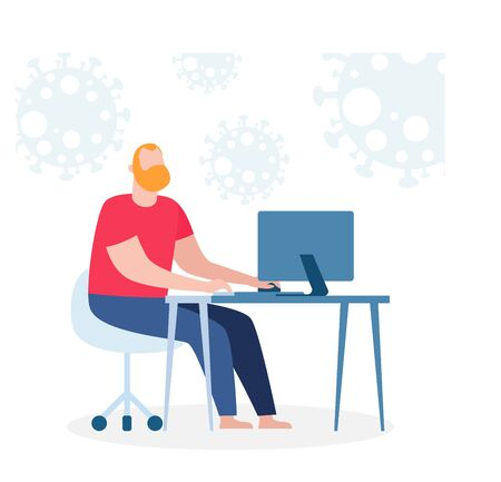 coronavirus (2019-nCoV) COVID-19 stay at home awareness social media campaign and coronavirus prevention, man and lifestyle activity and staying together in home on white background vector